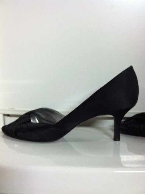 black satin shoe