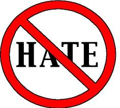 "the word ""hate"" with a ""do not"" red slash through it"