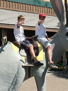 two boys on a jackalope