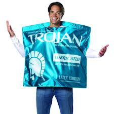 a man wearing a body-covering condom wrapper